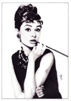 Audrey Hepburn (pencil) [re-scan] by mchurchill1982