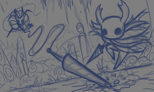 Sketch - Hollow Knight VS Hornet by Sawuinhaff