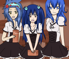 Blue haired maids by Yuki-Hime13
