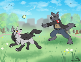 [Commission] Playing Catch With Mightyena by raizy