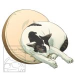 Sleeping Cat White with Grey Tabby Spots by Maygreen