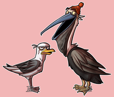 Seagull and Pelican - Gorillaz by Ashesfordayz