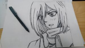 Started shading a Mikasa during class.  by personalord109