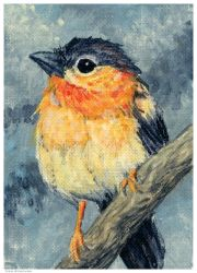 Lil Bird in acrylic by LisaCrowBurke