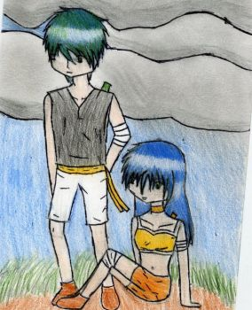 siblings chiling on a hill by 174938