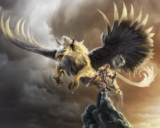 Griffin and Warrior by bobgreyvenstein
