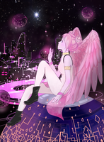 [Commission] Talia - Pink girl in space by Hopallie