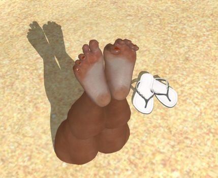Pharah's Twitchy Toes in the Sand 2 by MLGDoe