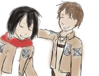 Mikasa and Eren by coffeerack