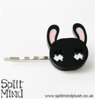 Black Bunny Hair Clip by splitmindplush