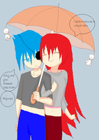 Jiki and Fara in the rain by faraandmera