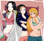One Piece: Hancock, Robin and Nami by Megalow