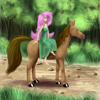 Fluttershy riding a horse by Fahu