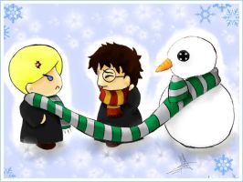 Drarry and Slytherin Snowman by NevanRhaegar