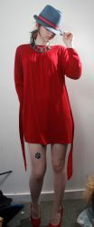 Blue hat red dress eyes covered 2 by Sinned-angel-stock