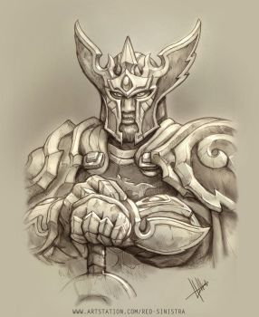 WoW - Gryaen , The Alliance Paladin (Pencil) by Red-Sinistra