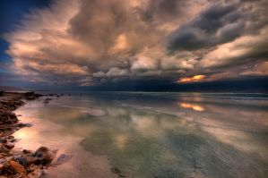 Storm above the Dead Sea by haimohayon