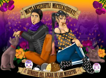 Mictlantecuhtli and Mictecacihuatl by Violeta-de-Panteon