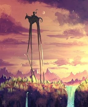 daily speedpaint 204 - stilts man by iDaisan