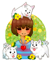 frisk + doggos Pixel art by MistletoesArt