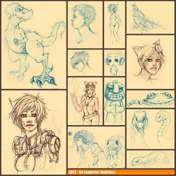 1st semester sketches by youffy