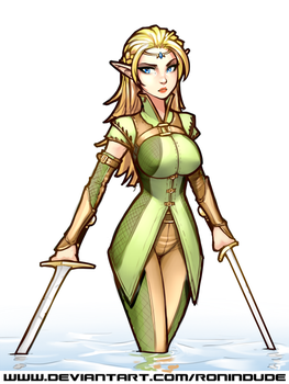 Elf Fighter - Colored Sketch by RoninDude