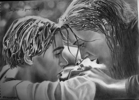 Jack and Rose from Titanic by elenouska15