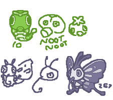 Day 112 - Caterpie and Beautifly by kirbymariomega