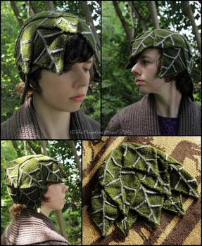 Green Leaves Knit Hat by ThePeculiarMissE