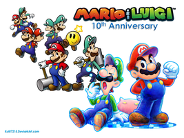 Mario and Luigi 10th Anniversary Wallpaper by StarRion20