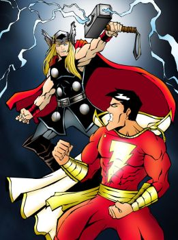 THOR vs Shazam by kar123