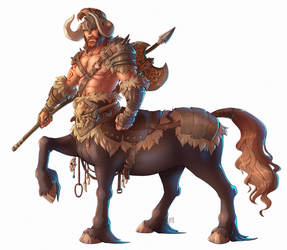 Lumroch the Centaur Totem Barbarian by EvaWin