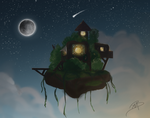 Floating Island at Night by Slisby