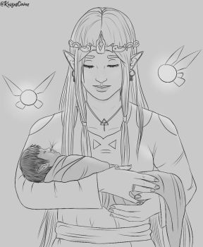 Zelda with Child by KaizasCoven