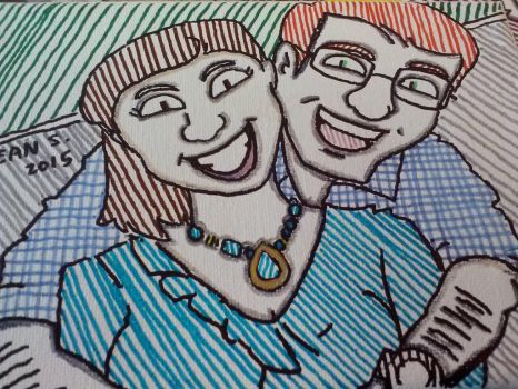 My cousin an his wife by GreenUnicornArt
