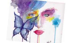 Abstract Face in watercolors by Max-Zorin