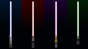 Blue, Red, Purple and Green Minecraft Lightsabers by Nicknufayl