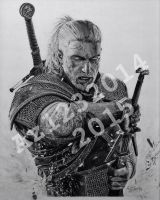 The Witcher 3: Wild Hunt   Geralt of Rivia Drawing by Az1232014