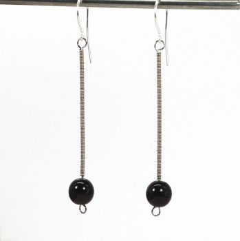 Guitar String Jewelry- Black and Silver Earrings by Tanith-Rohe