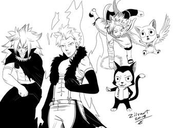 Fairy Tail inking Practice! by zilvart