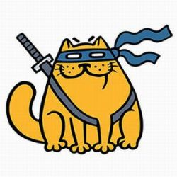Fat ninja cat in a mask and a sword by Likozor