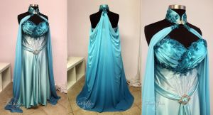 Elven Bridal Gown in Blue and Aqua by Firefly-Path