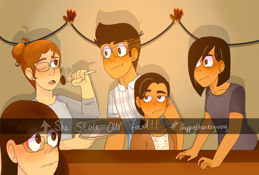 she stole our food! (thanksgiving art) by Michioreo123