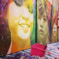 Goodbye Future triptych painting in Studio by michaelandrewlaw