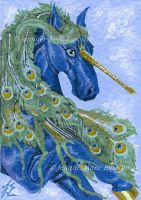 EBAY AUCTION - ACEO Blue Peacock Unicorn by JenniferAnneEsposito