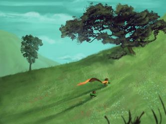 Frodo and Sam leaving the Shire by izzi3bootz
