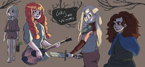 Girls and witches by Porokelle