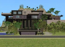 Sims 2 Cliffside House by RamboRocky