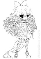 Curly Haired Girl Lineart by YamPuff