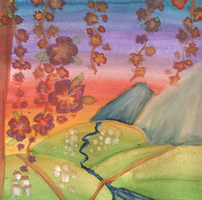 Watercolour Hiroshige Sunset by Sarky-Sparky
